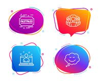 Best manager, Fastpass and Women group icons set. Speech bubble sign. Vector. Best manager, Fastpass and Women group icons simple set. Speech bubble sign. Best vector illustration