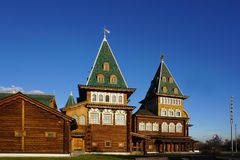 The best masterpieces of Russian wooden structure of Palace of T. Moscow, Russia - 9 November,2017 : The best masterpieces of Russian wooden structure of Palace Stock Photography