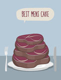 Best mens cake. Cake of steaks. Pieces of meat in  form of a cak Stock Photo