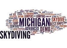 Best Michigan Skydive Centers Word Cloud Concept. Best Michigan Skydive Centers Text Background Word Cloud Concept Royalty Free Stock Images