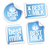 Best milk stickers. Royalty Free Stock Image