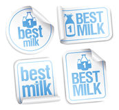 Best milk stickers. Royalty Free Stock Images