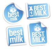 best mjölkar etiketter Royaltyfri Bild