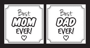 Best mom, best dad ever  card Stock Photo
