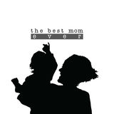 Best mom with child silhouette illustration in black Royalty Free Stock Image