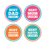 Best mom and dad, brother, sister icons. Royalty Free Stock Photography