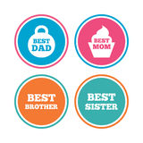 Best mom and dad, brother, sister icons. Stock Photography