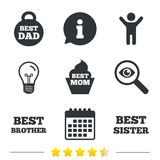 Best mom and dad, brother, sister icons. Royalty Free Stock Images
