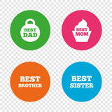 Best mom and dad, brother, sister icons. Stock Photo