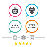 Best mom and dad, brother, sister icons. Royalty Free Stock Photo