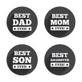 Best mom and dad, son, daughter icons Stock Image