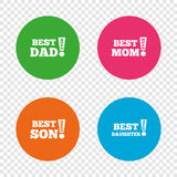 Best mom and dad, son, daughter icons. Stock Photo