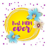 Best mom ever lettering nature orchid backdrop Royalty Free Stock Photo