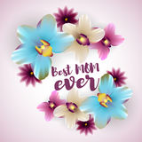 Best mom ever lettering orchid backdrop Stock Photo
