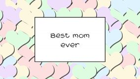 Best mom ever love card with Pastel hearts as a background, zoom in stock video footage