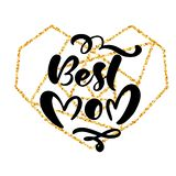 Best Mom hand lettering text in frame of gold geometric heart on Mother Day. Vector illustration. Good for greeting card. Poster or banner, invitation postcard vector illustration