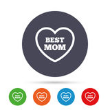 Best mom sign icon. Heart love symbol. Royalty Free Stock Photo