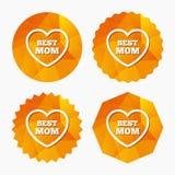 Best mom sign icon. Heart love symbol. Stock Photo