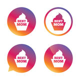 Best mom sign icon. Muffin food symbol. Royalty Free Stock Photo