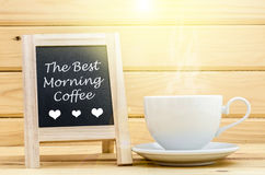 The best morning on black chalkboard. Stock Photography