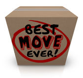 Best Move Ever Packing Cardboard Box Moving New Home. Best Move Ever words on a cardboard box to illustrate a good moving experience to a new home or workplace Stock Photography