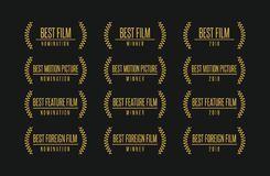 Best movie award winner  logo set. Movie award best feature film motion picture nomination winner  logo icon set Royalty Free Stock Images