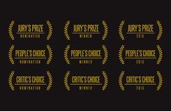 Best movie choice jurzy award  logo set. Jury people critic choice best movie film festival awards nomination winner black gold  icon set Royalty Free Stock Photography