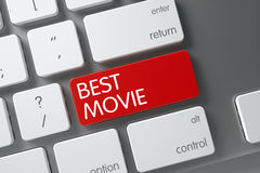 Best Movie - Red Keypad. 3D. Best Movie Concept: White Keyboard with Best Movie, Selected Focus on Red Enter Key. 3D Illustration Stock Image