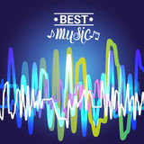 Best Music Banner Colorful Modern Musical Poster With Line Equalizer Stock Photo