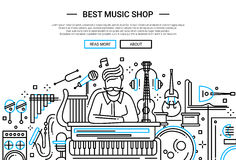 Best Music Shop - website header banner template Royalty Free Stock Image