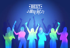 Best Music Silhouette People Dancing Live Concert Banner Colorful Musical Poster. Flat Vector Illustration Royalty Free Stock Photography