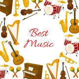 Best music vector poster of musical instruments. Musical instruments poster of acoustic guitar and violin with bow, orchestra harp and piano, maracas, saxophone Stock Photography