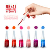 Best Nail Polish Colors Realistic Poster. Best choice of new tints nail polish colors with beautiful hand holding brush advertisement poster realistic vector Royalty Free Stock Photos