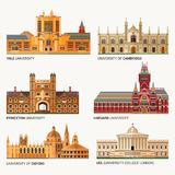 Best National Universities. Flat Buildings of Yale, Oxford, Harvard and Cambridge, Princeton and UCL University College Royalty Free Stock Photography