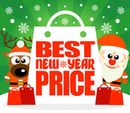 Best New Year Price card with deer and Santa Stock Photos