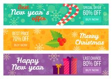 Best New Year s Offer Christmas Sale Advertising. Set of tree posters decorated with festive gifts and lollipop. Vector illustration with discount advert Stock Photo