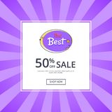The Best Night Sale Banner with Moon and Stars 50. Percent off shop now web banner vector poster isolated on background with rays, best price offer Stock Image