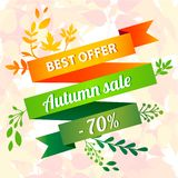 Best Offer Autumn Sale Concept Background, Cartoon Style Royalty Free Stock Image