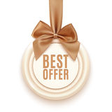 Best offer badge with golden ribbon and a bow Royalty Free Stock Photos