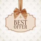 Best offer banner with golden ribbon and a bow Stock Images