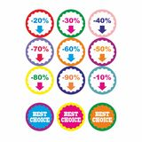 Best offer best price buy now percent discount label badge promotion sale set vector Royalty Free Stock Photos