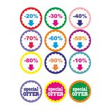 Best offer best price buy now percent discount label badge promotion sale set vector Stock Photography