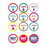 Best offer best price buy now percent discount label badge promotion sale set vector Stock Images