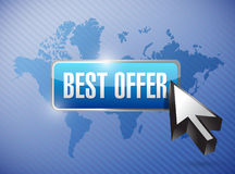 Best offer button illustration design over a world Stock Image