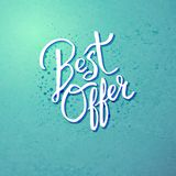 Best Offer Concept on Blue Green Background Royalty Free Stock Photography