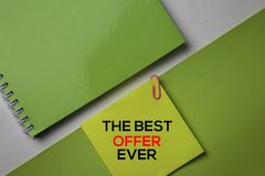 The Best Offer Ever text on top view office desk table of Business workplace and business objects royalty free stock image
