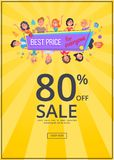 Best Offer for Everyone Promotional Poster People. Best offer for everyone promotional poster with happy customers, discount 80 vector illustration on yellow Royalty Free Stock Images