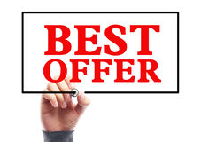 Best Offer. Hand with marker is writing the concept of Best Offer on the transparent whiteboard Stock Photo