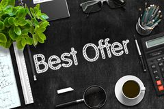 Best Offer Handwritten on Black Chalkboard. 3D Rendering. Stock Photography