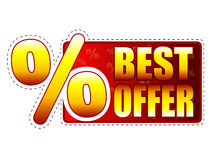 Best offer label with percentage symbol Royalty Free Stock Photos